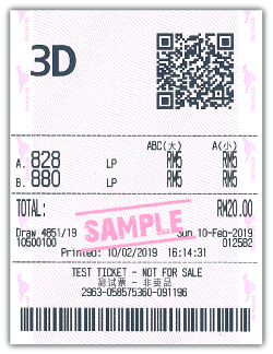 3D Lucky Pick Sample Ticket