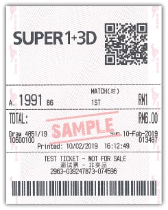 Super 1+3D Box Bet Sample Ticket