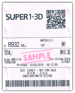 Super 1+3D Roll Bet Sample Ticket