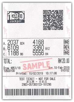 1+3D Jackpot Box Bet Sample Ticket