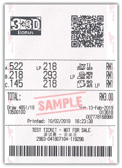 3+3D Bonus Lucky Pick Sample Ticket